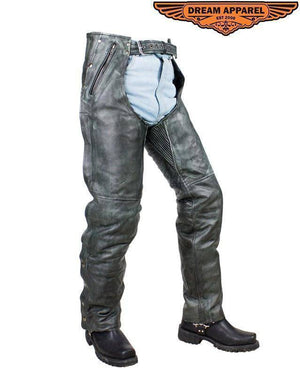 Naked Gray Cowhide Leather Chaps