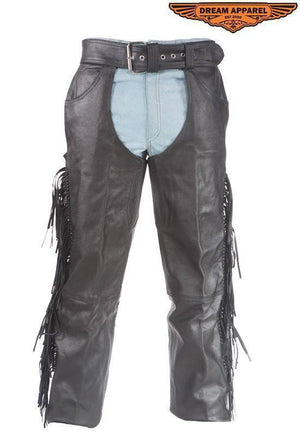 Biker Leather Chaps With Braid & Fringe - Stofma  Hub