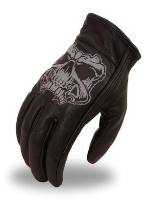 FI137GEL | Men's Short Glove With Reflective Skull