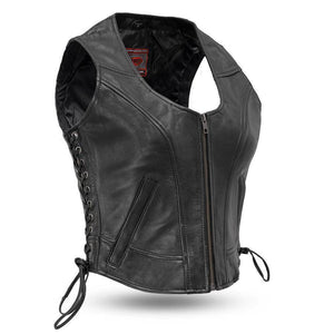 Raven | Women's Clean Side-Lace Leather Vest - Stofma  Hub
