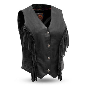 Apache | Women's Light Weight Fringe Leather Vest - Stofma  Hub