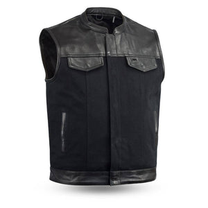 49/51 Canvas | Men's 20oz Heavy Hitter Canvas with Diamond Cowhide Vest w/Collar - Stofma  Hub