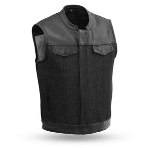 49/51 | Men's Denim & Leather Combo Vest - Stofma  Hub