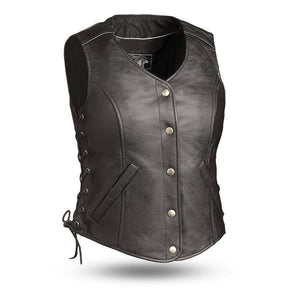 Honey Badger | Women's Five Snap Leather Vest