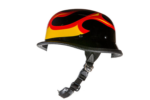 Shiny German Style Novelty Motorcycle Helmet W/ Flame Graphic | Novelty - Stofma  Hub