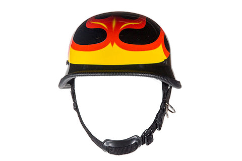 Shiny German Style Novelty Motorcycle Helmet W/ Flame Graphic | Novelty