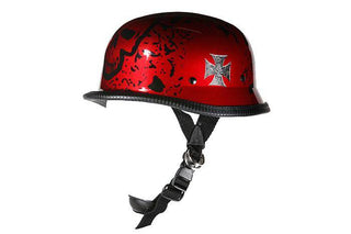 Shiny Burgundy German Style Novelty Motorcycle Helmet W/ Boneyard Graphic | Novelty - Stofma  Hub