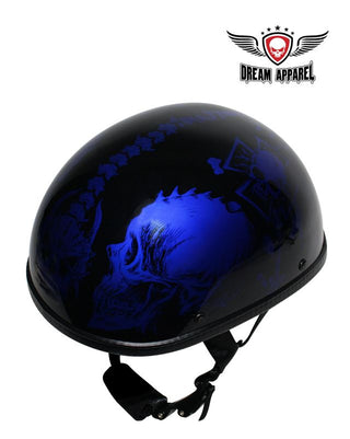 Shiny Blue Motorcycle Novelty Helmet With Horned Skeletons | Novelty