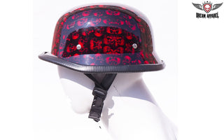 Burgundy Skull Graveyard German Motorcycle Novelty Helmet