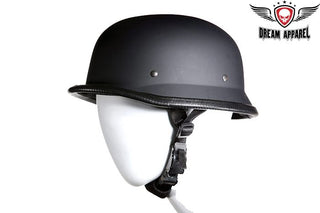 German Novelty Flat Black Helmet With Adjustable Chin Strap
