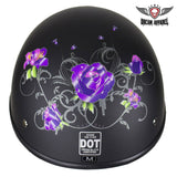 Womens Flat Black DOT Approved Helmet With Purple Rose Tribal Design - Stofma  Hub