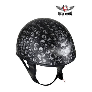 DOT Low Profile Flat Black Motorcycle Helmet With Skulls Graphic - Stofma  Hub
