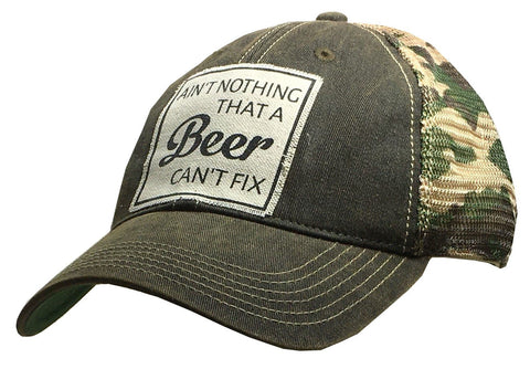 """Ain't Nothing That A Beer Can't Fix"" Distressed Trucker Cap"