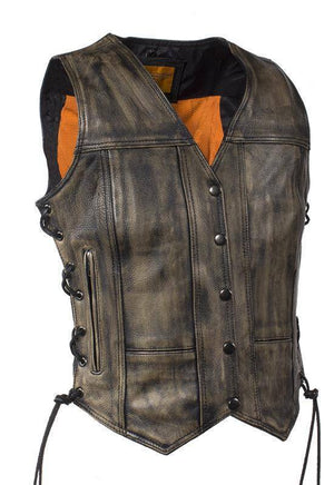 Womens Distressed Brown Naked Cowhide Leather Vest - Stofma  Hub