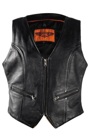 Womens Biker Leather Vest With Gun Pockets - Stofma  Hub
