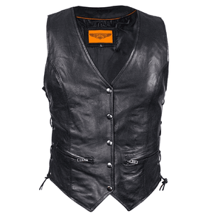 Ladies Naked Cowhide Leather Vest W/ Laces - Stofma  Hub