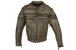 Brown Distressed Leather Concealed Carry Jacket - Stofma  Hub