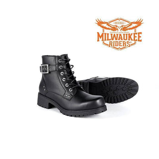 Ladies Black 6-Eye Motorcycle Boots W/ Zipper - Stofma  Hub