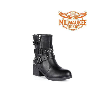 Ladies Zippered Black Multi-Studded Buckle Boots - Stofma  Hub