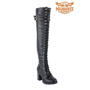 Ladies Knee High Laced Boots By Milwaukee Riders