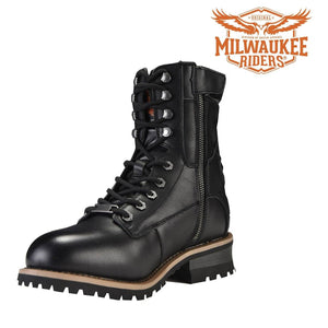 Men's Leather Motorcycle Boots Zipper And Lace-Up By Milwaukee Riders - Stofma  Hub
