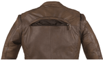 Men's Brown Naked Cowhide Leather Diamond Jacket