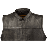 Mens Distressed Brown Leather Motorcycle Club Vest - Stofma  Hub