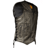Mens Distressed Brown Motorcycle Vest With 10 Pockets - Stofma  Hub