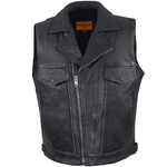 Mens Leather Motorcycle Vest With Two Deep Gun Pockets