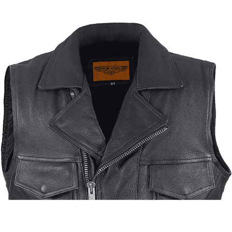 28b09ae9d Mens Leather Motorcycle Vest With Two Deep Gun Pockets