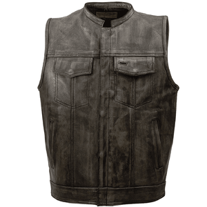 Mens SOA Style Motorcycle Club Distressed Brown Leather Biker Vest