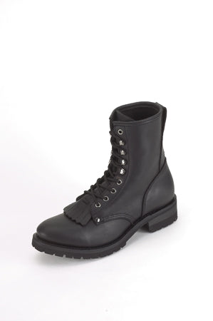 Wide Biker Boots With Laces & Tassle In Front