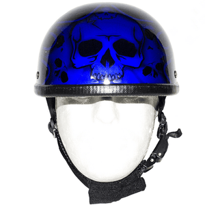 Shiny Blue Motorcycle Novelty Helmet With Burning Skull | Novelty