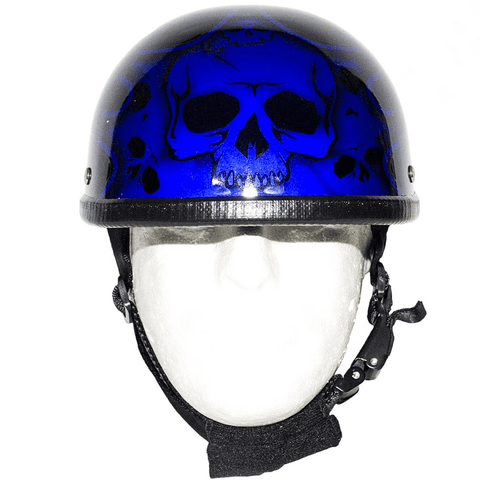 Shiny Blue Motorcycle Novelty Helmet With Burning Skull | Novelty - Stofma  Hub