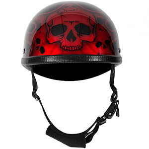 Shiny Burgundy Motorcycle Novelty Helmet With Burning Skull | Novelty