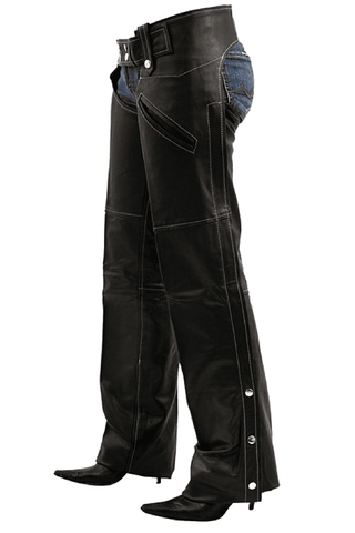 Womens Black Leather Chaps