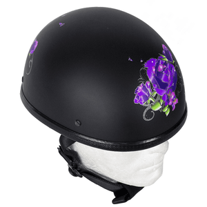 Womens Flat Black Novelty Motorcycle Helmet With Purple Rose Design | Novelty