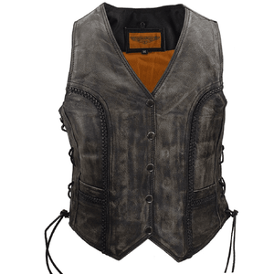 Womens Longer Cut Distressed Brown Cowhide Leather Motorcycle Vest - Stofma  Hub