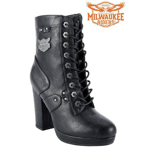 Womens Leather Zippered Chunky Heel Boots By Milwaukee Riders