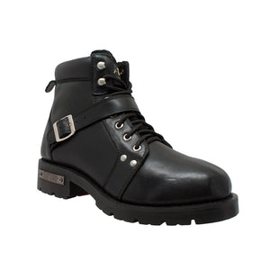 9143 Men's YKK Zipper Biker Boot-Black