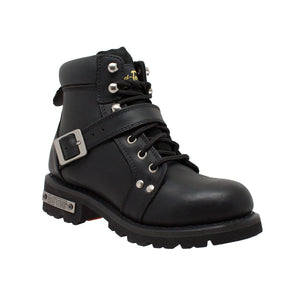 8143 Women's YKK Zipper Black Biker Boot