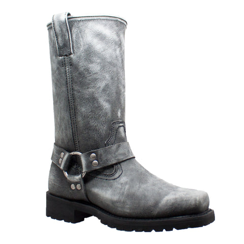 Men's Harness Zipper Boot Black Stone Wash Leather