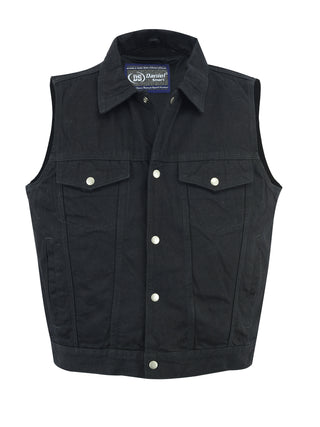 Snap Front Denim Vest- Black