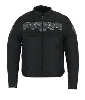 Men's Textile Scooter Style Jacket w/ Reflective Skulls