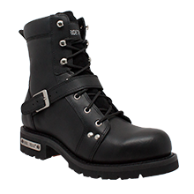 "9146M Men's 6"" YKK Zipper Black Biker Boot - Stofma  Hub"