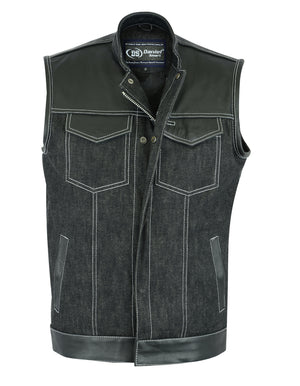 Men's Leather/Denim Combo Vest