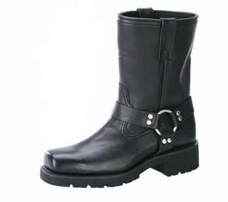 "Mens 7"" Harness Motorcycle Boots With Zipper"