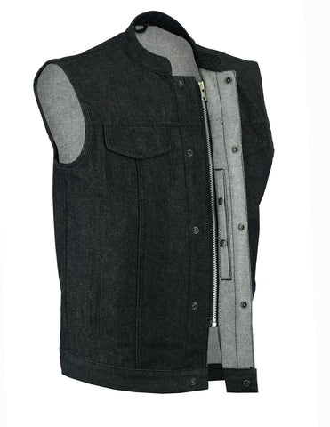 Men's Rough Rub-Off Raw Finish Denim Vest