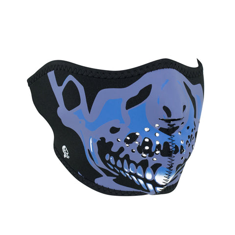 ZAN Half Mask- Neoprene- Blue Chrome Skull