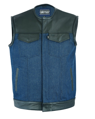 Men's Leather/Denim Combo Vest (Black/Broken Blue)